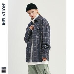 Image 3 - Мужская классическая Повседневная рубашка INFLATION, клетчатая рубашка с длинным рукавом, хлопковая винтажная рубашка 92107W, осень 2020