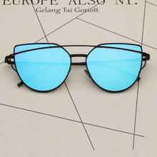 Metal Mirror Cateye Sunglasses Women Luxury Cat Eye Brand Design Mirror Vintage Retro Ladies Sun Glasses Lady Eyewear Reflective все цены