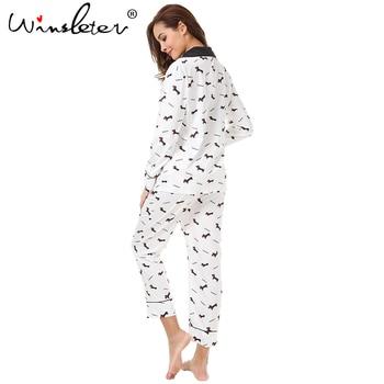 New 2019 Pajama Sets Women Dachshund Print 3 Pieces Set Long Sleeve Top + Pants Elastic Waist + Blinder Loose Homewear S74407 4