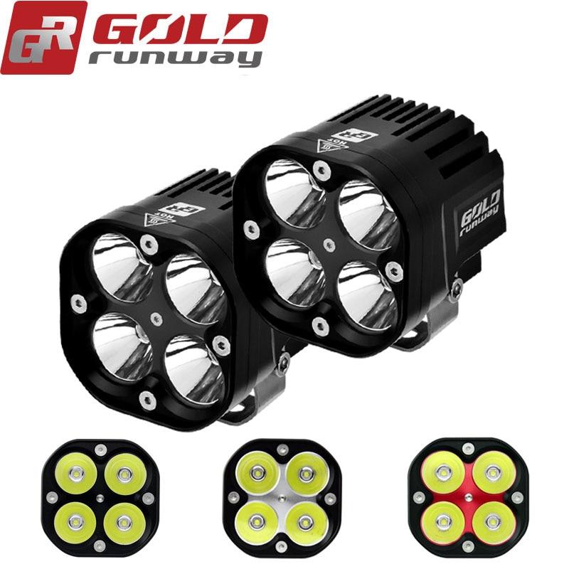 GOLDRUNWAY 40 w U3 Moto Phare projecteur 4200lm auxiliaire LED allume la lumière de Brouillard CNC usiné Boîtier En Aluminium