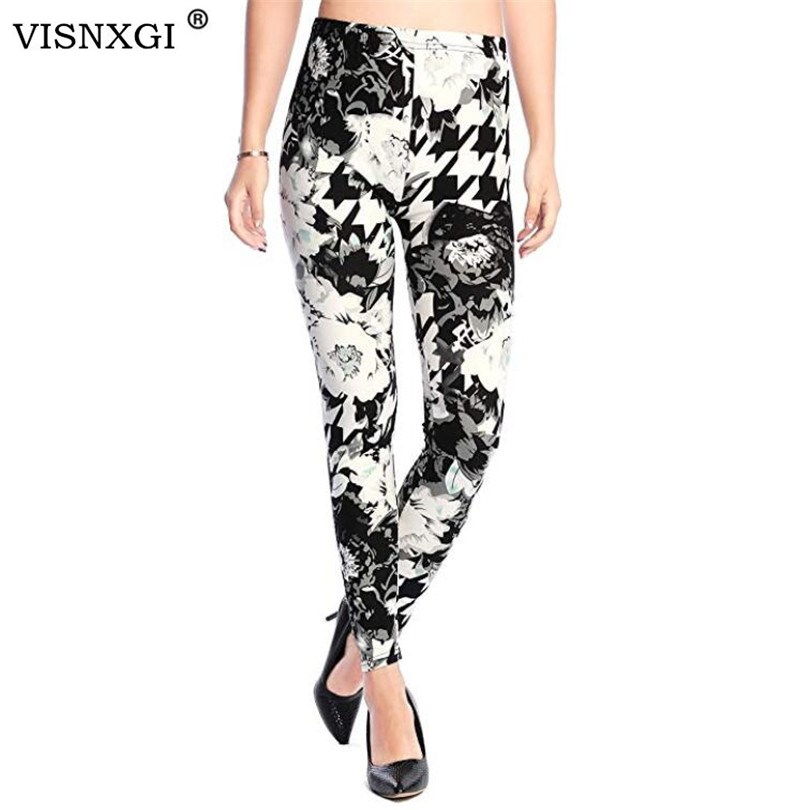 VISNXGI Fashion Women Leggings Printing Fitness Legging Sexy Silm Legins High Waist Stretch Trouser Pants Hot Sales Clubwear