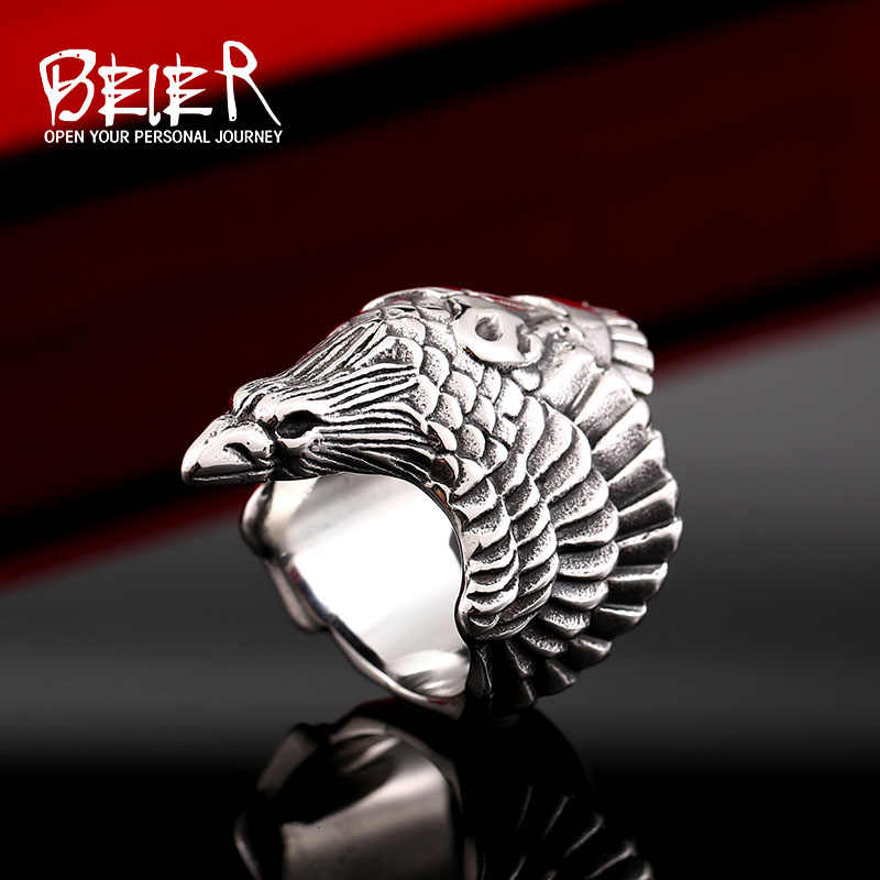 One Piece Sale Violent Eagle For Man 316L Stainless Steel Hip-Hop Biker Boy's Cool Jewelry Ring BR8-329