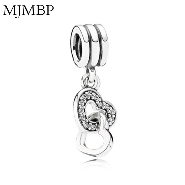 New Double Heart Pendant DIY Fashion Charms Vintage Beads Fit Pandoraa Gift For Bracelet & Necklaces Jewelry making Women Gifts