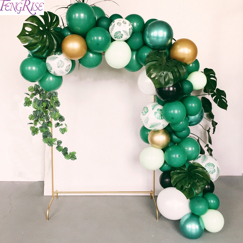 FENGRISE Jungle Party Palm Leaf Balloons Birthday Party Supply Tropical Luau Summer Safari Party Decor Hawaii Party Decorations