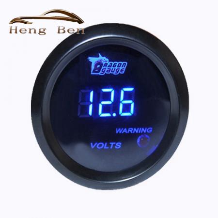 HB 52mm Preto shell led azul Backlight 12 V função de Advertência de Carro de Competência da motocicleta Reequipamento Auto Voltímetro Volt medidor
