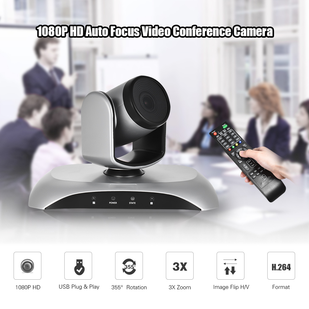 Aibecy 1080P HD USB Video Conference Camera Auto Focus 3X Optical Zoom Auto Scan Plug-N-Play with IR Remote Control for office ikecix u12x 2m 12x zoom usb 1080p video conference camera microphone