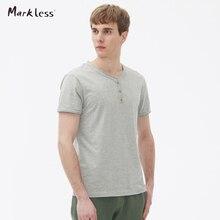 Markless Men's Casual T-shirts Cotton 100% Male Short-sleeve Slim T shirt V-neck Henry Collar Basic Summer Man Tops