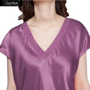 Image 2 - LilySilk camisones de seda 100 para mujer, vestido de noche para mujer, cuello de pico puro, manga corta, 22 momme, media pantorrilla, envío gratis