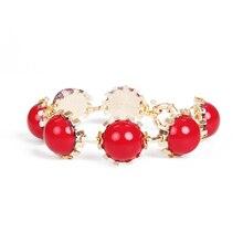girl women fashion Korean concise colorful bead gold alloy student pupil bracelet