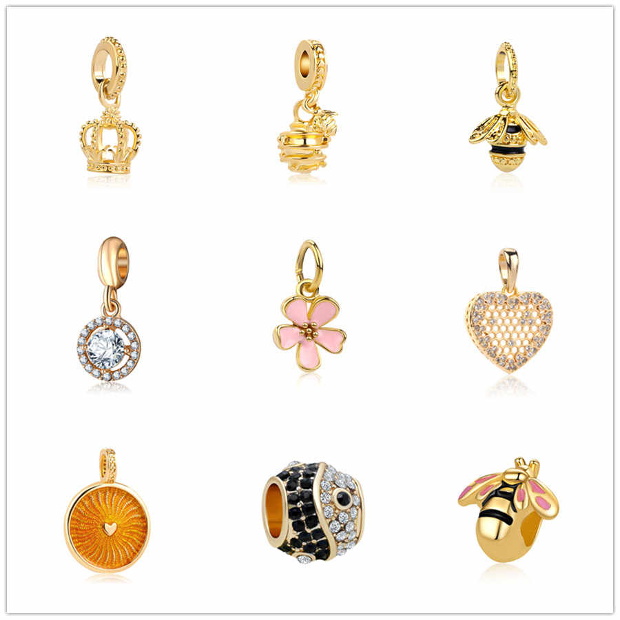 196b38aa4 european 1pc love necklace pendant flower crown bee silver bead charms Fit  Pandora Charms Bracelet for