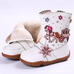 Image 5 - Кожаные ботинки для маленьких девочек на осень и зиму, плюшевые детские ботинки до середины икры, модные римские ботинки, водонепроницаемые резиновые ботинки для детей ясельного возраста