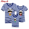 Ming Di Family Look Brand New 2016 Summer Family Matching Outfits T Shirt Short Sleeve Blue Striped Girl Mother Dad Son Clothing