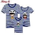 Ming Di Family Look Brand New 2016 Verano de la Familia de Trajes A Juego Camiseta de Manga Corta A Rayas Azules de La Muchacha Madre Papá Hijo Ropa