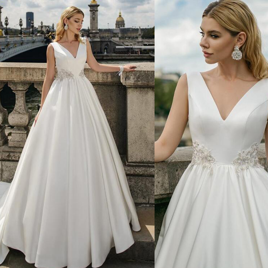 Satin V-neck Neckline A-line Sleeveless Wedding Dress With Applique Beading Belt Sweep Train Bridal Dress Vestido De Novia