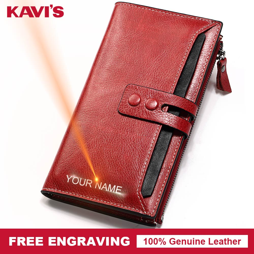 KAVIS Free Engraving Genuine Leather Women Wallet Female Perse Coin Purse Portomonee Walet Lady Rfid Vallet Clutch Card Holder