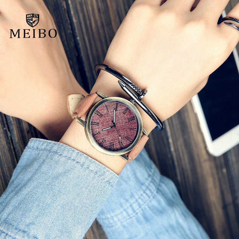 MEIBO Relojes Quartz Men Watches Casual Wooden Color Leather Strap Male Wristwatch Relogio Masculino Ladies Watch female watch 1