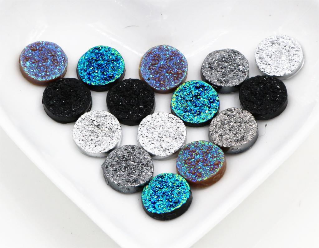 New Fashion 50pcs 12mm Mix Color Ore Style Flat Back Resin Cabochons Cameo