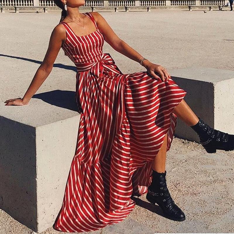Décontracté rayure Maxi Robe élégante Sexy dos nu femmes vacances Robe rouge Boho 2019 mode sans manches à volants grande balançoire robes longues