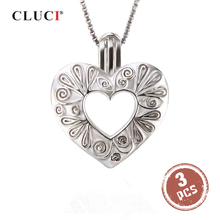 CLUCI 3pcs כסף 925 בצורת לב רומנטי תליון תכשיטי מתנה עבור נשים 925 כסף סטרלינג תליון פנינה תליון SC299SB