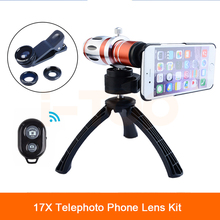 Buy 2017 17x Telephoto Telescope Zoom Lenses Fisheye Macro Wide Angle Lens For iPhone 4 4s 5 5s SE 6 6s 7 Plus Case Phone Lentes Kit