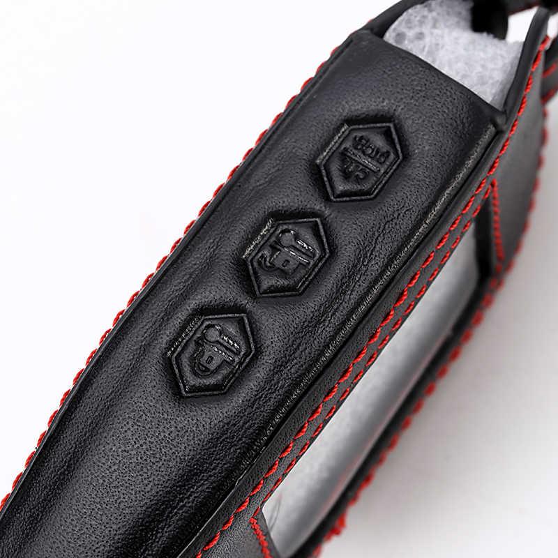 3 botões de couro do carro-estilo chave capa caso para starline b9 b6 a91 a61 twage em dois sentidos sistema de alarme do carro chaveiro