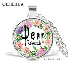 QIDIEHUA Vintage Glass Cabochon Necklace Pendant Quote Jewelry Faith,Dream,Love,Hope Flower Glass Necklace For Women Men Gifts(China)