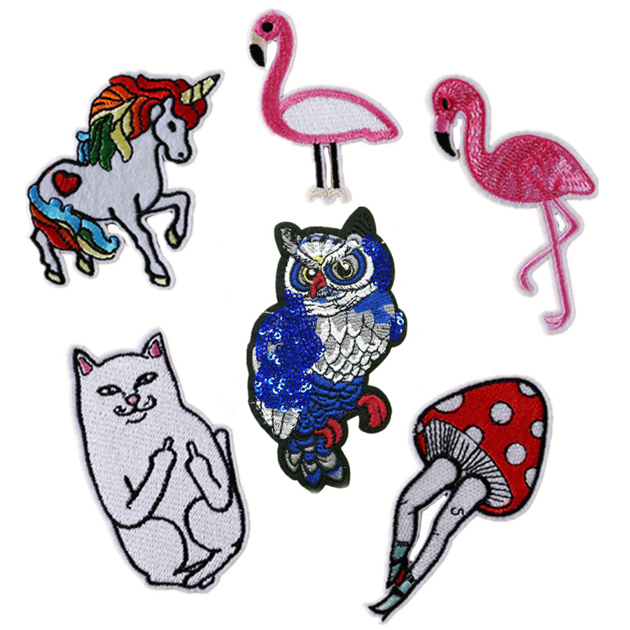 1Pcs Flamingo Cat Horse Applique Clothing Embroidery Patch Fabric Sticker Elegant Sew-on Clothes Accessories DIY Decoration