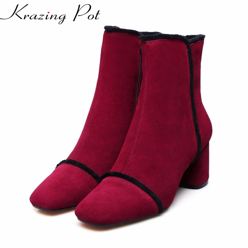 Krazing Pot 2018 cow suede streetwear square toe high heels winter boots European designer keep warm office lady ankle boots L50 krazing pot hot sale cow suede round toe thick high heels fashion office lady bowtie design keep warm quality ankle boots l8f1