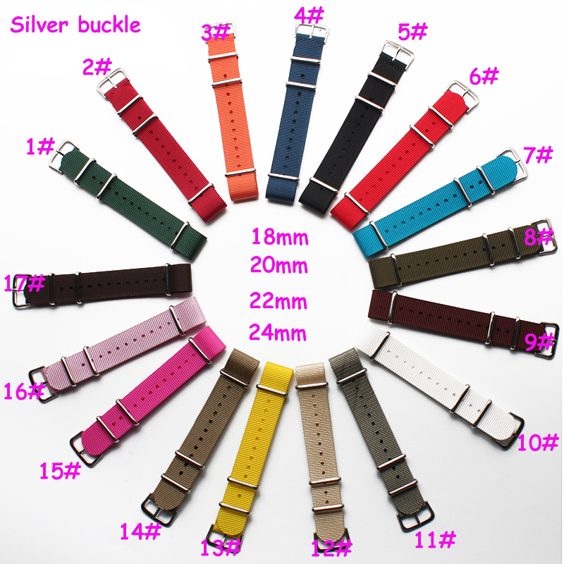 Hight quality Watchband  Nylon Nato Watch Strap 18mm 20mm 22mm 24mm Silver buckle Multicolor Watch Band Waterproof Watch Strap 18mm 20mm 22mm watchband high quality nato nylon wach band rose gold buckle zulu watch strap 4 color available