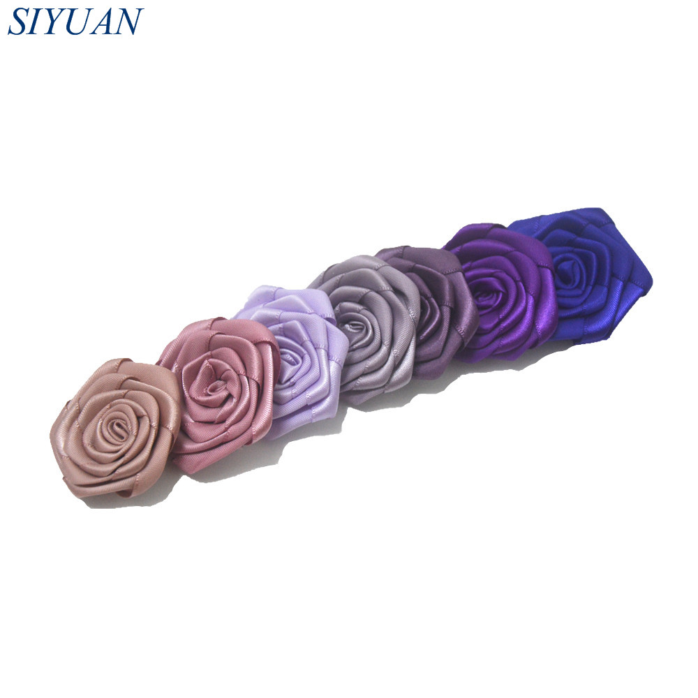 45pcs/lot Rolled Satin Rosettes Flower WITH/WITHOUT Hair Clip Girl Hairpin Headwear Accessories Flower Size 4.5cm TH232