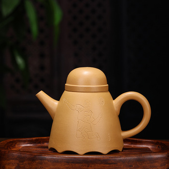 Enameled Pottery Teapot Famous Full Manual Raw Ore Gold Section Mud Teapot Badminton Teapot Agent A Piece Of Generation Hair