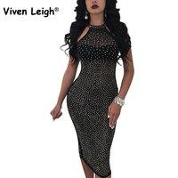 Viven Leigh Halter Rhinestone Örgü Elbise Seksi Kolsuz Bodycon Midi Elbise Kayısı Siyah Çıplak Kadın Kulübü Parti Sparkly Elbise