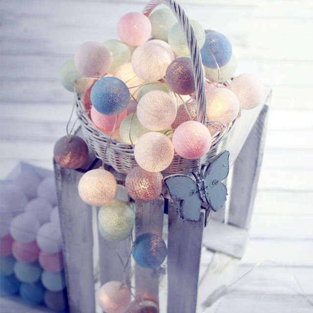 20 LED Cotton Ball String Lights AC & Battery Fairy Lights Outdoor Decoration Holiday Garland Christmas Globe Lighting * EGH008