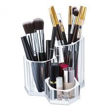Makeup Box Transparent Storage Bins Clear Acrylic Cosmetic Organizer Brush Holder For Tool Eyeliner Nail Polis