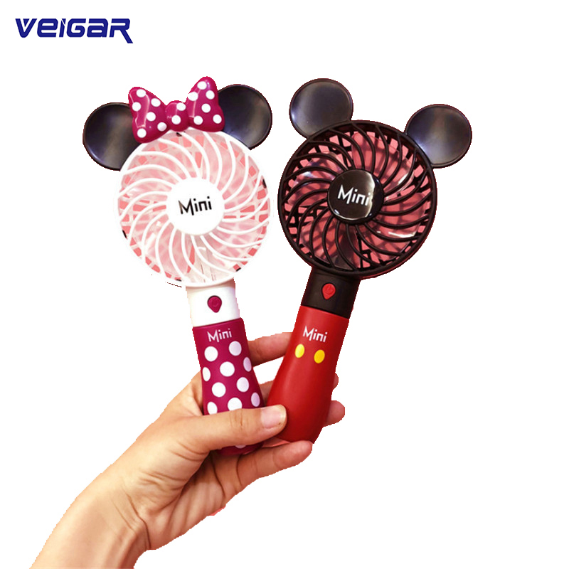 Cute Mickey Fan Portable Handheld With Rechargeable Built-in Battery 800mA USB Port Handy Air Cooling Mini Fan For Smart Home button