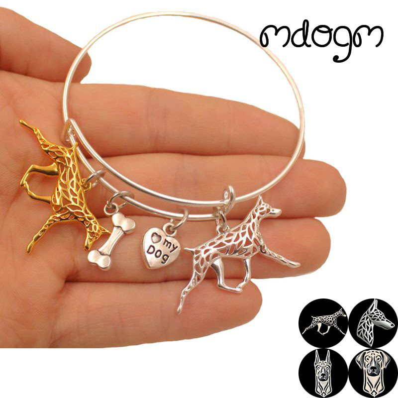 2018 Hot Sale Animal Bracelet Bangles Doberman Dog Love Alloy Metal Men Women Cute Fashion Male Female Girls Cartoon S022