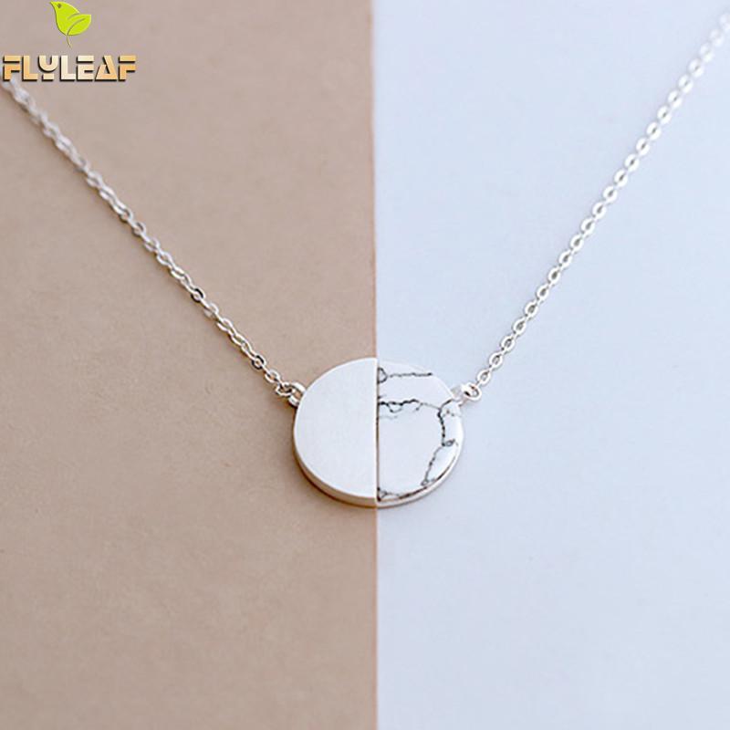 Flyleaf 925 šterling srebro iz naravnega marmorja Okrogle ogrlice in obeski za ženske preprost slog-srebrno-srebrni nakit