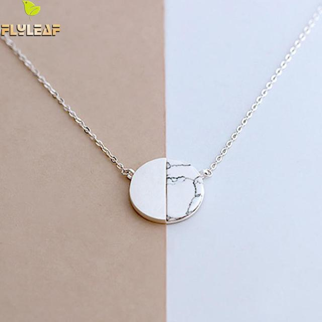Flyleaf 925 Sterling Silver Natural marble Round Necklaces & Pendants For Women