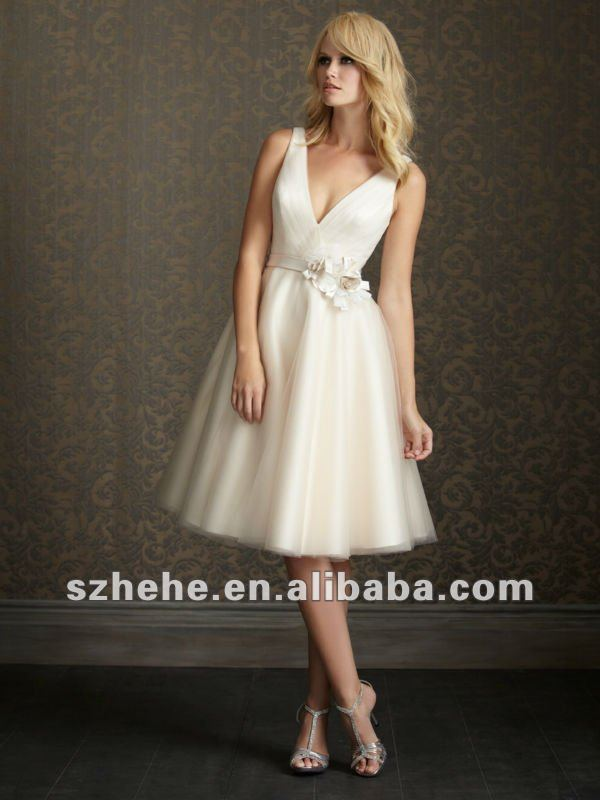 b78c50b4461be Free Shipping!!!Sexy plunging v neck short skirt with flower waistband tea  length tulle wedding dress-in Wedding Dresses from Weddings   Events on ...