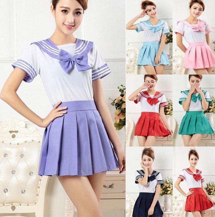 Aliexpress.com  Buy Japanese School Girl Uniform Dress T Shirt + Mini  Skirt Outfit Sailor Sailor Cosplay Halloween Costume Fancy Anime S XXL from  Reliable