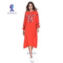 cd5fd7aa32 Latest Design Solid Color Long Sleeve Muslim Dress Loose Fit Hemp Hijab  Dress Embroidered Islamic Clothing Abaya Dubai Kaftan