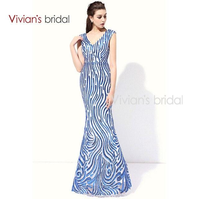 Vivian s Bridal Mermaid Evening Dresses 2016 Sequin Cap Sleeve V Neck Long  Formal Evening Gown LC299 09bba46d5e28
