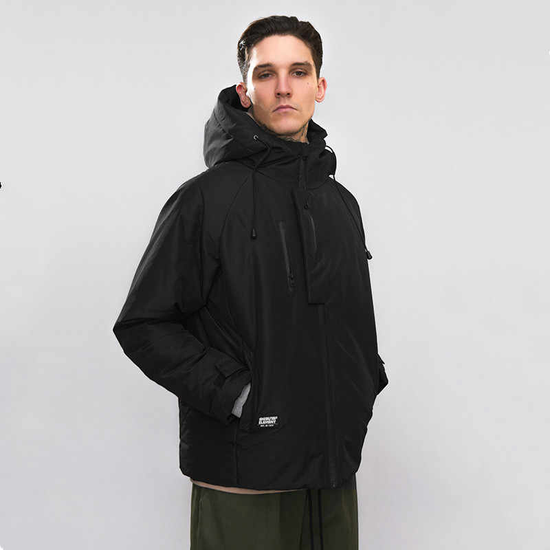 الشتاء في الهواء الطلق الرجال Trakking المد العلامة التجارية بلون سترة سحاب عازل للماء جيب صندوق طويل أسفل حتى قبعة الذكور فضفاض تزلج معطف