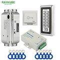 RAYKUBE набор контроля доступа Электрический врезной замок + RFID металлическая клавиатура дверь безопасности