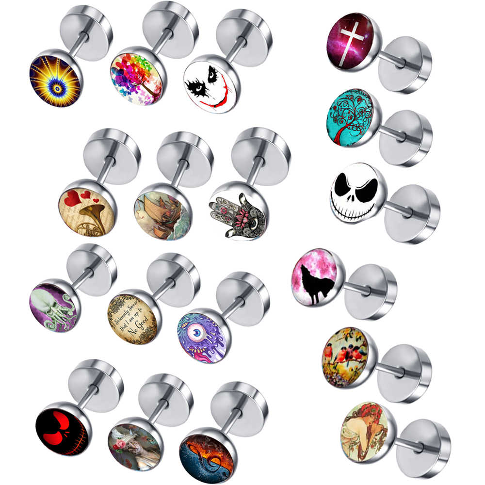 1pcs Cheater Fake Ear Plugs Satinless Steel Gauges Illusion Tunnel Piercing Stud Screw Earrings 16G Clear Epoxy Dome Logo