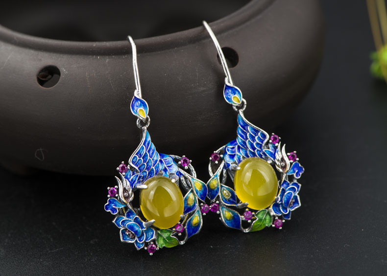 S925 sterling silver inlaid natural stone earrings is exquisite high-end new early adopters deer king jewelry beeswax bracelet s925 sterling silver antique shaolan craft exquisite female new early adopters