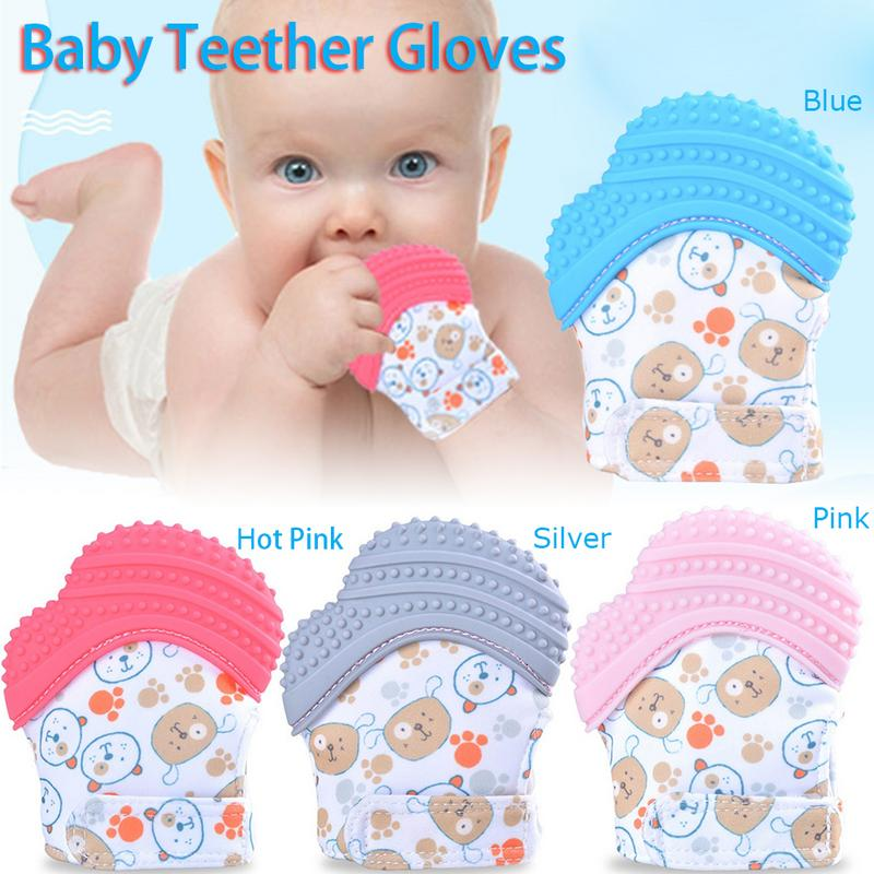 Newborn Baby Silicone Teether Tooth Glue Gloves Windproof Chewable Tool
