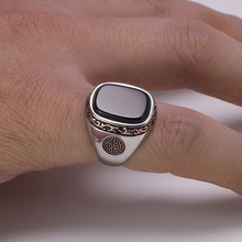 Mens Rings Silver s925 Retro Vintage with Natural Black Onyx Stones