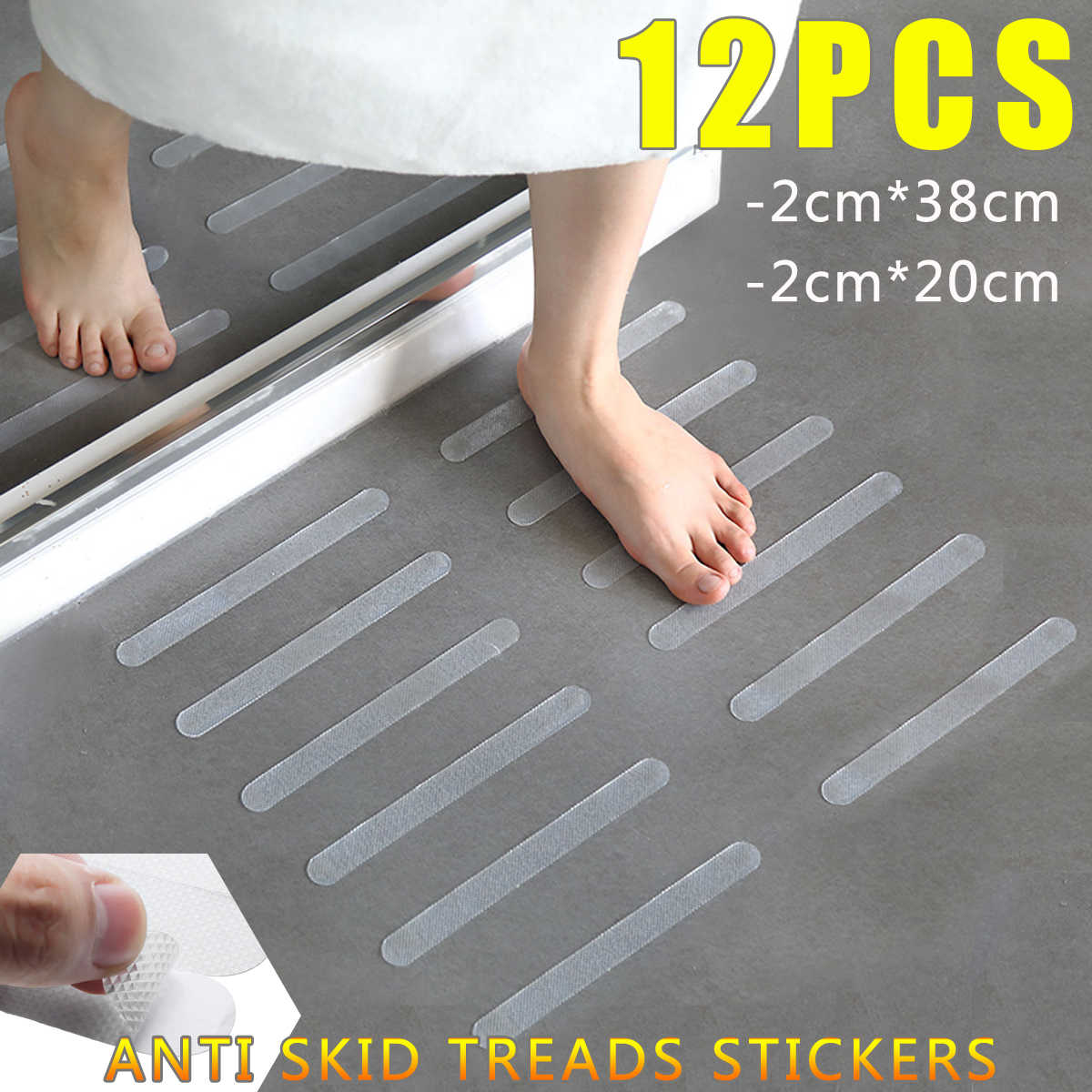 12 stks Badkamer Bad Douche Anti Slip Trap Loopvlak Clear Tape Waterdichte Sterke Floor Veiligheid Mat Grip Sticker Applique Bad decor