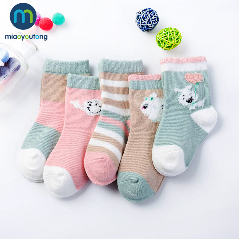 5 Pair /lot 10pcs Lovely Pink Rabbit Knit Cotton Duck Soft Cute Girl Baby Socks Skarpetki Newborn Socks Kids Boy Miaoyoutong